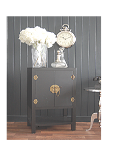 Black large Side cabinet with cupboard and shelf